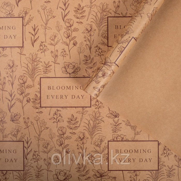 Бумага упаковочная крафтовая Blooming every day 50х70 см