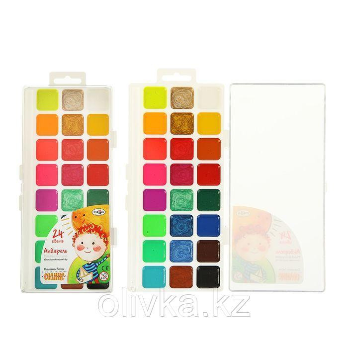 Акварель 24 цвета, «Гамма» «Оранжевое солнце», в пластиковой коробке, без кисти
