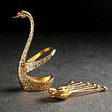 Набор ложек на подставке «Золотой лебедь», 7,5×5×14 см, фото 2