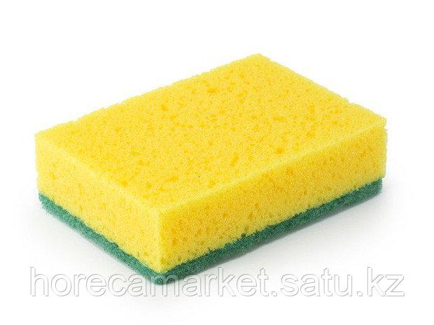 Губка для мытья посуды зеленая 7х14 (10 шт)