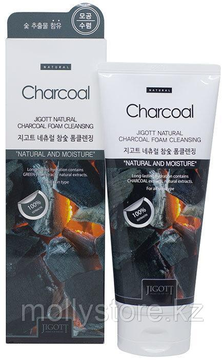 Jigott Natural Charcoal Foam Cleansing Пенка для умывания с экстрактом древесного угля, 180 мл