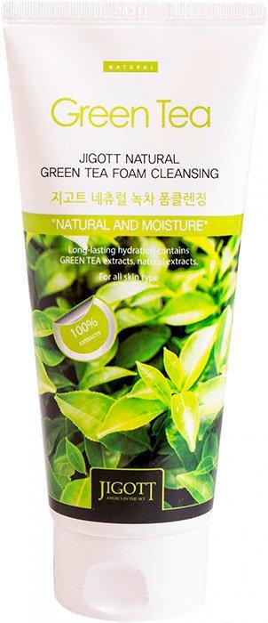 Jigott Natural Green Tea Foam Cleansing Пенка для умывания с экстрактом зеленого чая, 180 мл