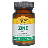 БАД Цинк хелатный, 50 мг Country Life (100 таблеток)