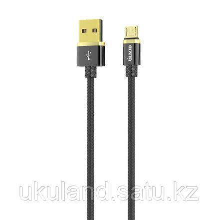 Кабель OLMIO DELUXE, USB 2.0 - microUSB, 1м, 2.1A, черный