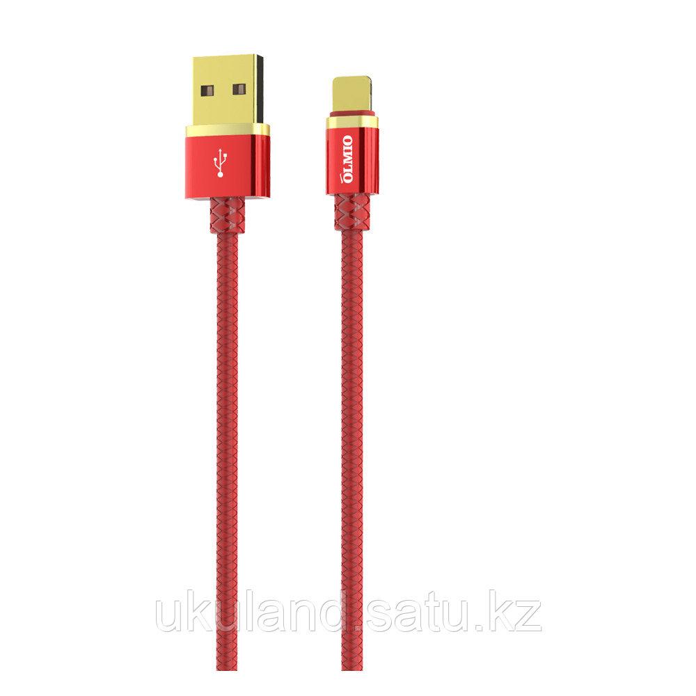 Кабель OLMIO DELUXE, USB 2.0 - Type-C, 1м, 2.1A, красный
