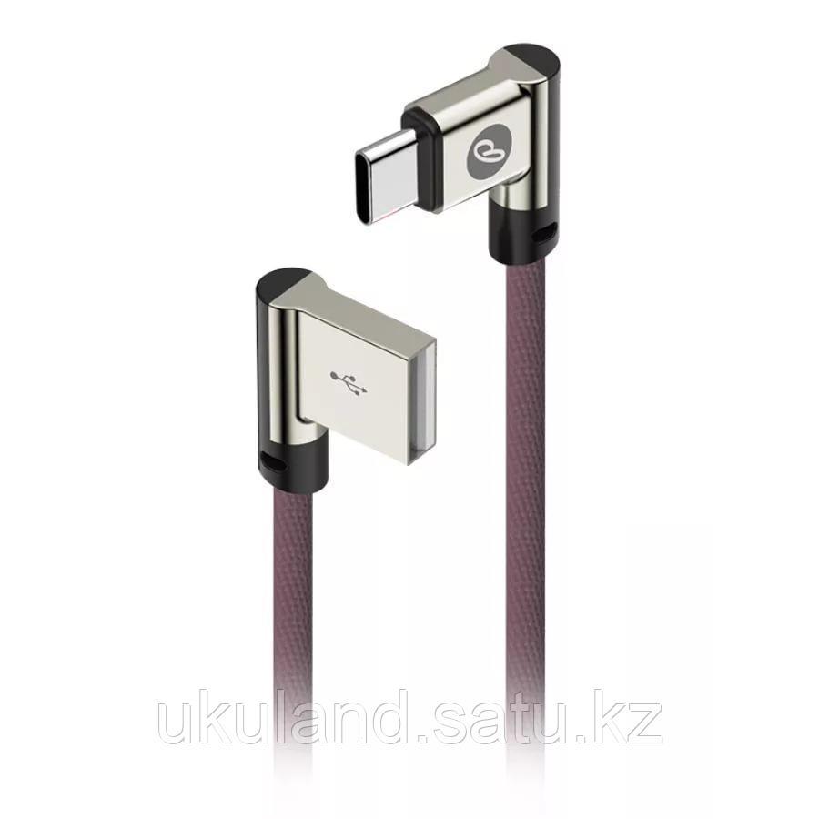 Кабель OLMIO USB 2.0 - Lightning, 1м, угловой, тканевая оплетка, цвет серый