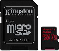Карта памяти MicroSD 64GB Class 10 U3 A1 Kingston SDCR/64GB