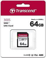 Карта памяти SD 64GB Class 10 U3 Transcend TS64GSDC300S