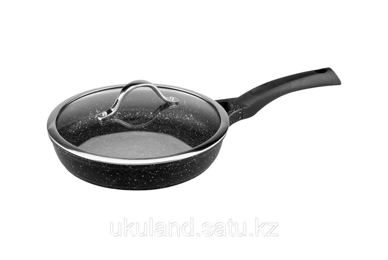 Сковорода VINZER Premium Granite Induction 89454 с крышкой 24 см