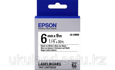 Лента Epson C53S652003 LK-2WBN Стандартная лента 6мм, Бел./Черн.,9м