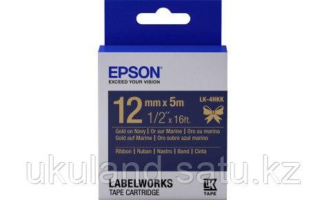 Лента Epson C53S654002 LK-4HKK Сатиновая лента 12мм,Тем.Син./Золото,5м