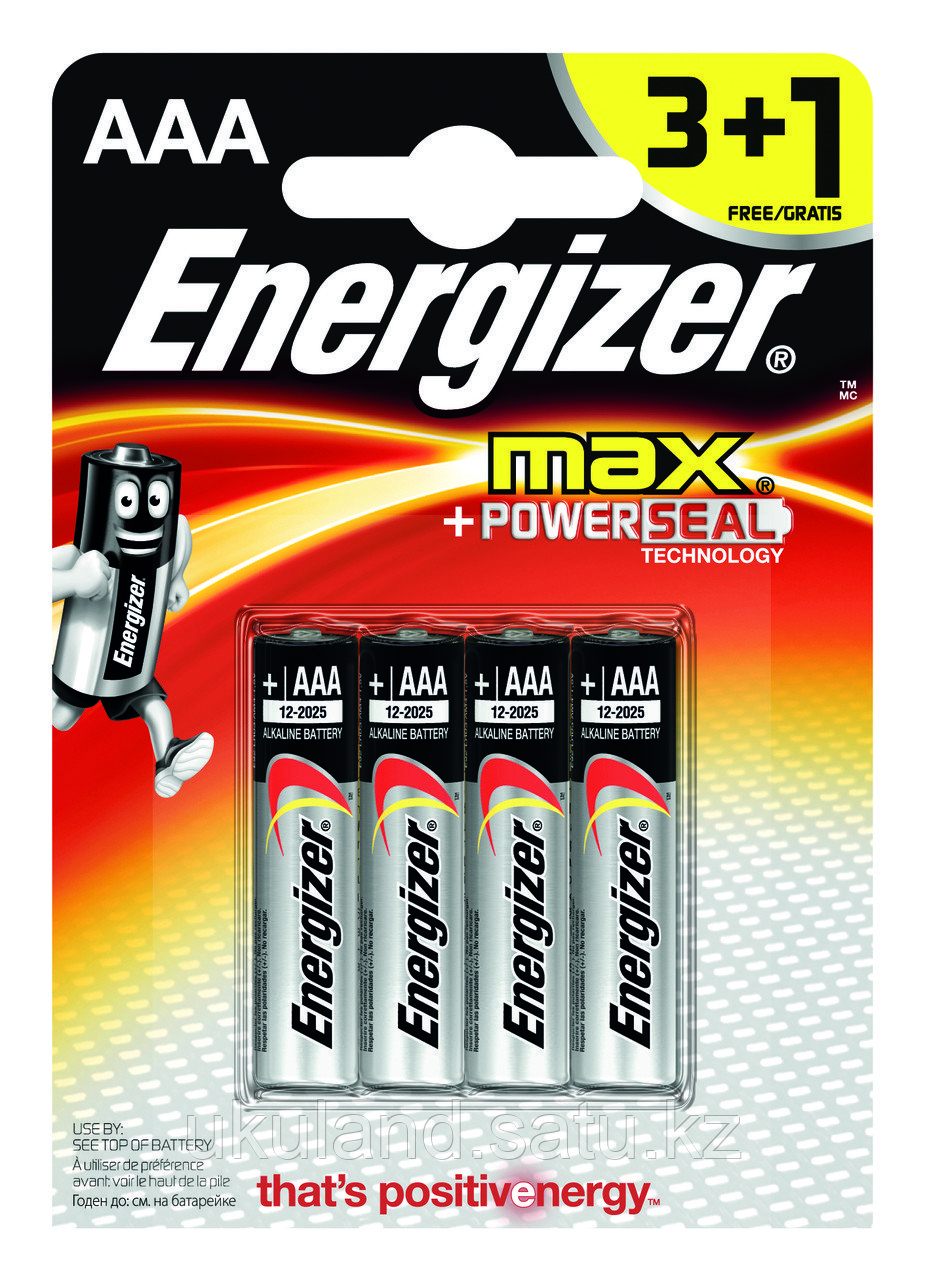 Элемент питания LR03 АAA Energizer MAX  Alkaline 3+1 штуки в блистере АКЦИЯ