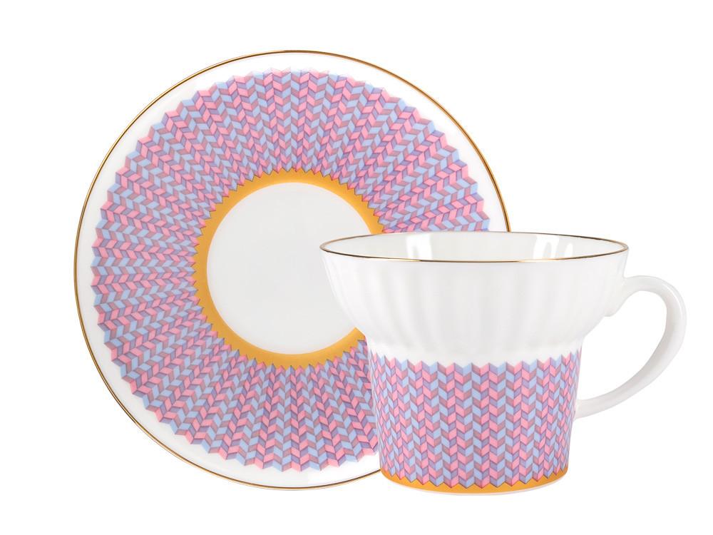 Чашка с блюдцем Геометрия-2. Костяной фарфор, авторская работа