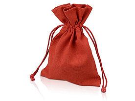 Мешочек подарочный, лен, средний, красный