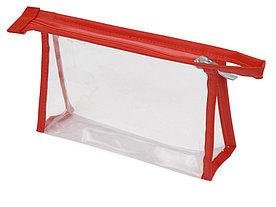 Прозрачная пластиковая косметичка Lucy, красный