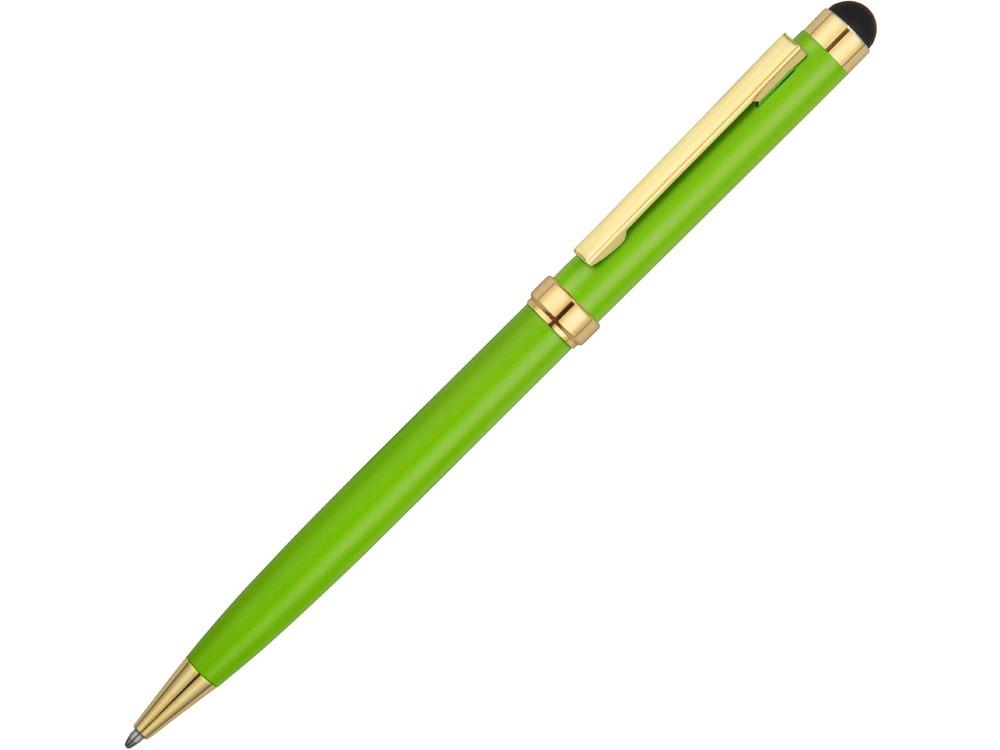 Ручка шариковая Голд Сойер со стилусом, зеленое яблоко