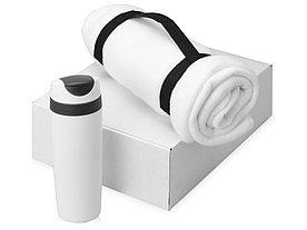 Подарочный набор Cozy с пледом и термокружкой, белый