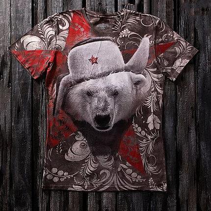 «Медведь белый» тотальная футболка мужская, фото 2