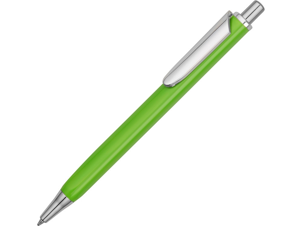 Ручка металлическая шариковая трехгранная Riddle, зеленое яблоко/серебристый