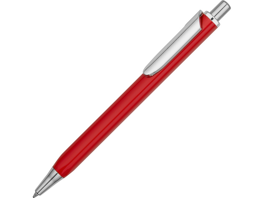 Ручка металлическая шариковая трехгранная Riddle, красный/серебристый