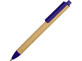 Ручка картонная пластиковая шариковая Эко 2.0, бежевый/синий