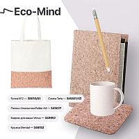 Набор подарочный ECO-MIND: ручка, папка с блокнотом, коврик для мыши, кружка, сумка, коричневый, бежевый, ,