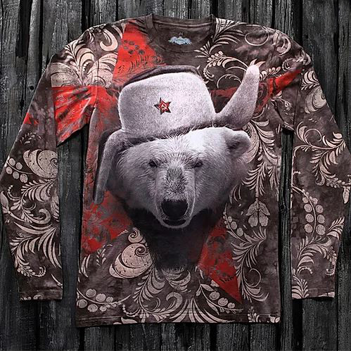 «Медведь белый» тотальный двусторонний мужской лонгслив в Алматы