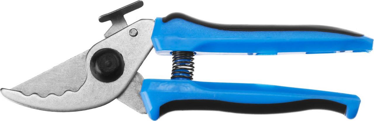 Секатор, Сибин, 190 мм, рез до10 мм, стальные лезвия, зубчатый (40201)