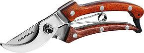 Плоскостной cекатор, Grinda, 195 мм,цельнокованый из нержавеющей стали, с деревянными рукоятками (423417), фото 2
