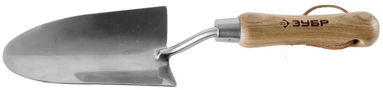 """Широкий совок посадочный, ЗУБР 335 мм, деревянная ручка из ясеня, серия """"Эксперт"""" (4-39463_z01)"""