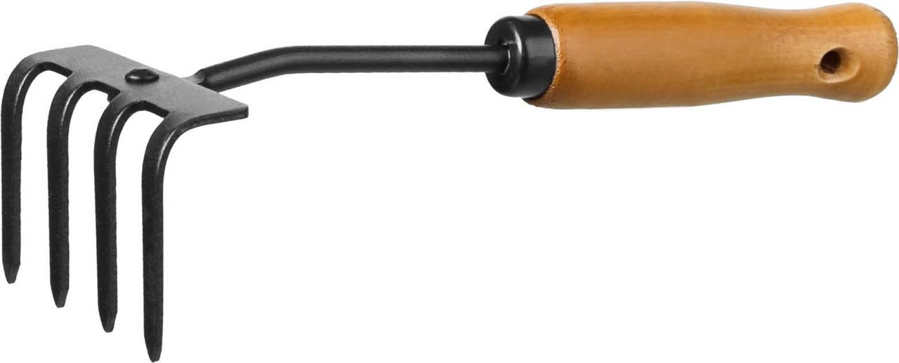 Грабли-рыхлитель PROLine с деревянной ручкой, Grinda, 270 мм, 4 зубца (421515)