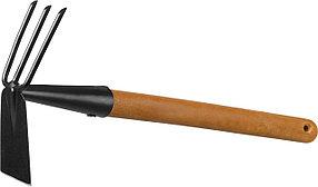 Мотыга-рыхлитель ProLine, Grinda, 113х100х575 мм, 3 зубца, деревянная ручка, лопатка (421517)