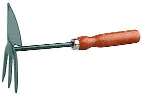 Мотыжка садовая, Grinda, 250 мм, 3 зубца, углеродистая сталь, дерев. ручка, сердцевидное лезвие (8-421239_z01)