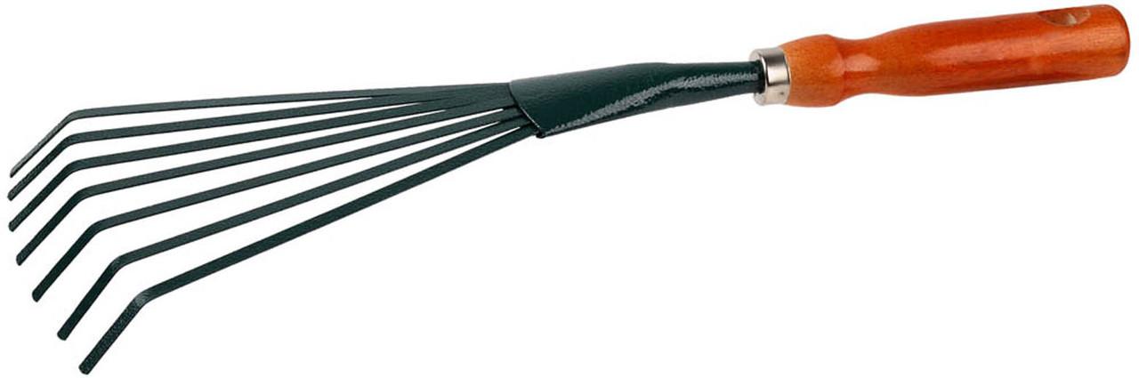 Грабельки веерные с плоскими зубцами, Grinda, 390 мм, деревянная ручка (8-421253_z01)