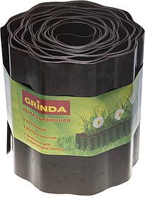 Лента бордюрная, Grinda, 20 см х 9 м, коричневая (422247-20)