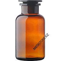 Склянки для реактива с широкой горловиной с притертой пробкой из темного стекла (500 мл)