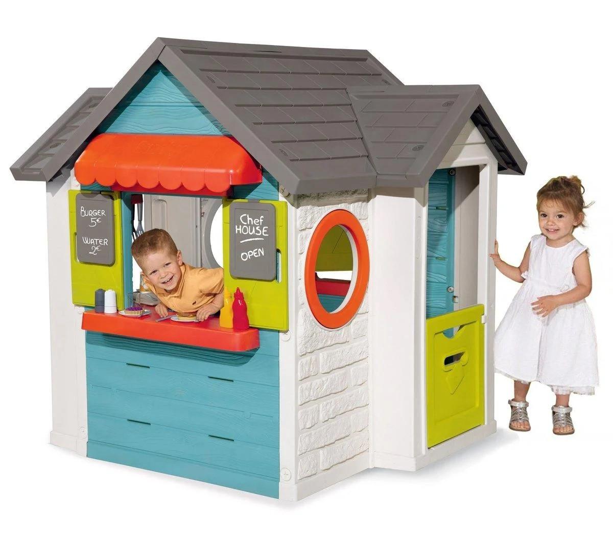 Домик Smoby детский для улицы 3 в 1: садовый домик, ресторан и  магазин