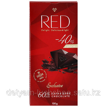Чёрный шоколад RED 60% без сахара, без глютена 100гр