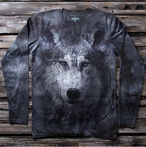 «Волк серый» мужской лонгслив в Алматы