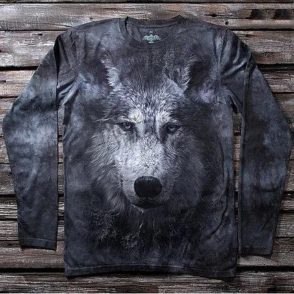 «Волк серый» мужской лонгслив в Алматы, фото 2