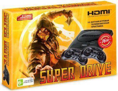 Игровая приставка Sega16 bit Super Drive Mortal Kombat HDMI + 2 геймпада (Черная)+картридж 24 игры