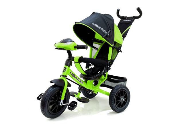 Трехколесный велосипед Lexus trike, со свето-звуковой панелью, чёрно-зелёный