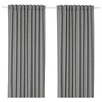 Шторы затемняющие свет ХАННАЛЕНА серый 290x300 см ИКЕА IKEA, фото 1