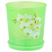 Горшок цветочный для орхидеи (декор) 1,8 л (с поддоном), Прозрачно-зелёный, М1453