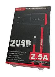Зарядка MicroUSB 2.5A AlfaTech 3in1 AF-238