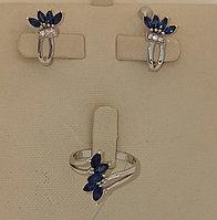 Золотой комплект с бриллиантами и сапфирами