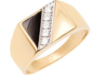 Золотое кольцо Атолл 4163э_195 (Эмаль/Фианит)