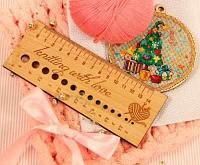 Аксессуар для вязания Березка Линейка д/определения размера спиц, бук Knitting with love