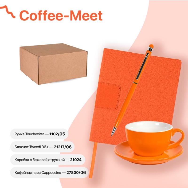 Набор подарочный COFFEE-MEET: бизнес-блокнот, ручка, чайная/кофейная пара, коробка,стружка,оранжевый,