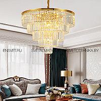 Хрустальная люстра в Американском стиле на 15 ламп золотая